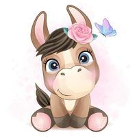 Cute little donkey with watercolor illustration vector