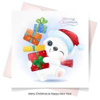Cute doodle polar bear for christmas with watercolor illustration vector