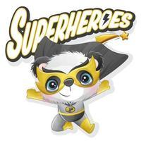 lindo panda superhéroe con ilustración acuarela vector
