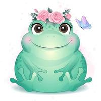 Cute little frog with watercolor illustration vector