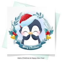 Cute doodle penguin for christmas with watercolor illustration vector
