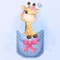 Cute little giraffe sitting inside pocket illustration vector