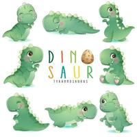 Cute little dinosaur poses with watercolor illustration vector