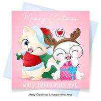 Cute doodle kitty for christmas day with watercolor illustration vector
