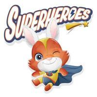 lindo conejo superhéroe con ilustración acuarela vector