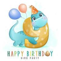 linda fiesta de cumpleaños de dinosaurio con ilustración de numeración vector