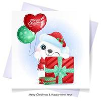 Cute doodle bear for christmas with watercolor illustration vector
