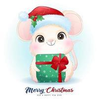 lindo ratón doodle para el día de navidad con ilustración de acuarela vector