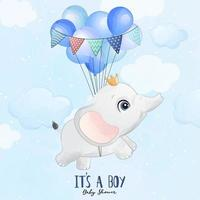 Cute baby elephant flying with balloon illustration vector