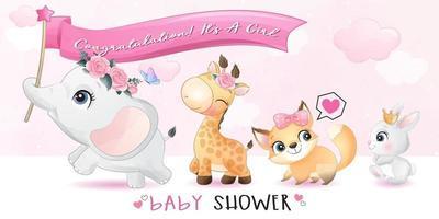 lindos animalitos con ilustración de baby shower vector