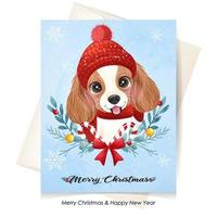 Cute doodle puppy for christmas with watercolor illustration vector