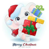 Cute doodle elephant for christmas day with watercolor illustration vector