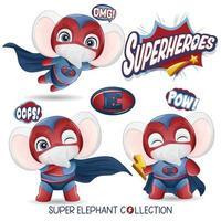 lindo elefante superhéroe con colección de acuarela vector