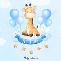 Cute baby giraffe sitting in the cloud with watercolor illustration vector