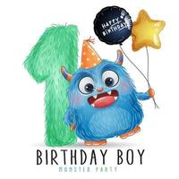 Cute little monster birthday with watercolor illustration vector