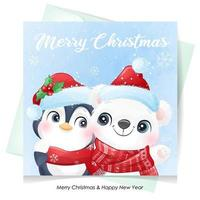 Cute doodle polar bear and penguin for christmas with watercolor illustration vector