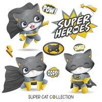 lindo super gato con ilustración acuarela vector