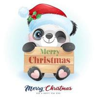 Cute doodle panda for christmas day with watercolor illustration vector