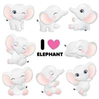 Cute little elephant poses with watercolor illustration vector