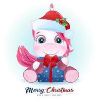 lindo doodle unicornio para el día de navidad con ilustración de acuarela vector
