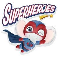 lindo elefante superhéroe con ilustración de acuarela vector