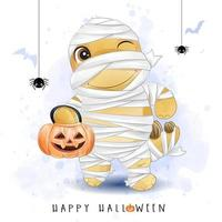 Cute doodle dinosaur for halloween day with watercolor illustration vector