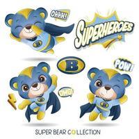 lindo oso superhéroe con colección de acuarela vector
