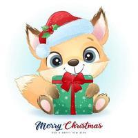 lindo doodle foxy para el día de navidad con ilustración de acuarela vector