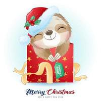 Cute doodle sloth for christmas day with watercolor illustration vector