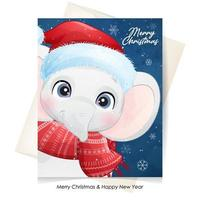 Cute doodle elephant for christmas with watercolor illustration vector