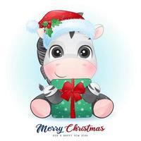 lindo doodle cebra para el día de navidad con ilustración de acuarela vector
