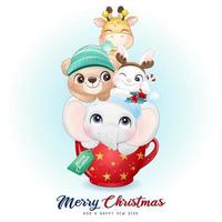 Cute doodle animals for christmas day with watercolor illustration vector