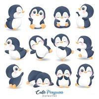 Cute doodle penguins set for christmas day with watercolor illustration vector