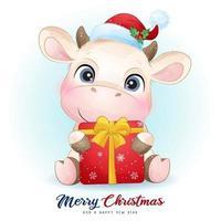 Linda vaca doodle para el día de Navidad con ilustración de acuarela vector