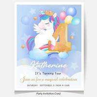 Cute doodle unicorn birthday party invitation card illustration vector