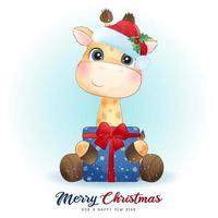 linda jirafa doodle para el día de navidad con ilustración de acuarela vector