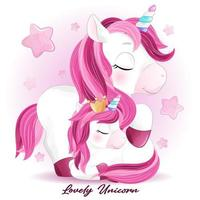 Cute doodle unicorn with watercolor illustration vector