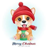 Cute doodle corgi for christmas day with watercolor illustration vector