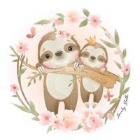 Cute doodle sloth with floral illustration vector