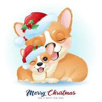 lindo corgi doodle para el día de navidad con ilustración de acuarela vector
