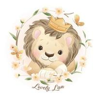 Cute doodle lion with floral illustration vector