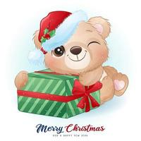 Cute doodle bear for christmas day with watercolor illustration vector