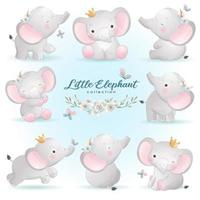 Cute doodle elephant poses with floral illustration vector