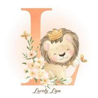 Cute doodle lion with watercolor illustration vector
