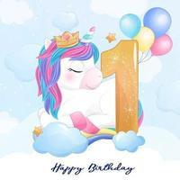 Cute doodle unicorn with numbering illustration vector