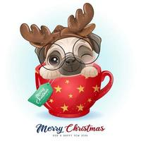 Cute doodle pug for christmas day with watercolor illustration vector