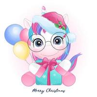 Cute doodle unicorn for christmas with watercolor illustration vector