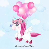 Cute doodle unicorn flying with balloon illustration vector