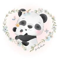 Cute doodle panda with floral illustration vector