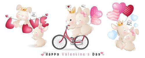 lindo conejito doodle para la colección del día de san valentín